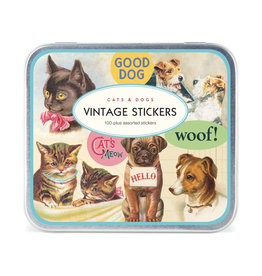 Cavallini Papers Vintage Cat + Dog Sticker Pack in Tin