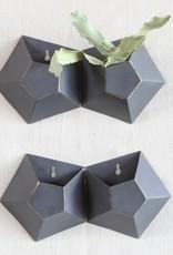 Hexagonal Iron Wall Vase, Double