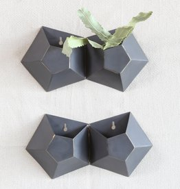 Hexagonal Iron Wall Vase, Double