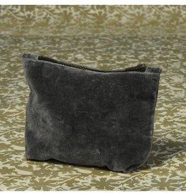 Velvet Zipper Pouch, Charcoal