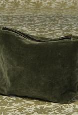 Velvet Zipper Pouch, Sage Green