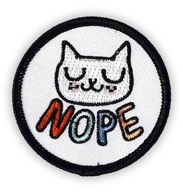 "Badgebomb ""Nope"" White Cat Iron On Patch"