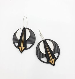 Salty & Sweet Design Layered Leather and Birch Earrings - Black & White