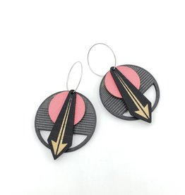 Salty & Sweet Design Layered Leather and Birch Earrings - Black & Red