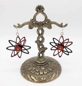 Green Tree Jewelry Atom Laser-Cut 3D Gear Earrings, Red/ Black