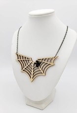 Green Tree Jewelry Spiderweb Laser-cut wood Necklace