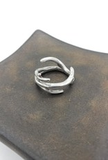 Antler Ring Narrow, Sz. 7 in high polished Sterling Silver