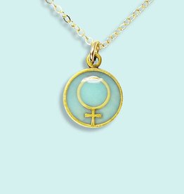 Ornamental Things Aqua Enamel Female Symbol Necklace - Ornamental Things