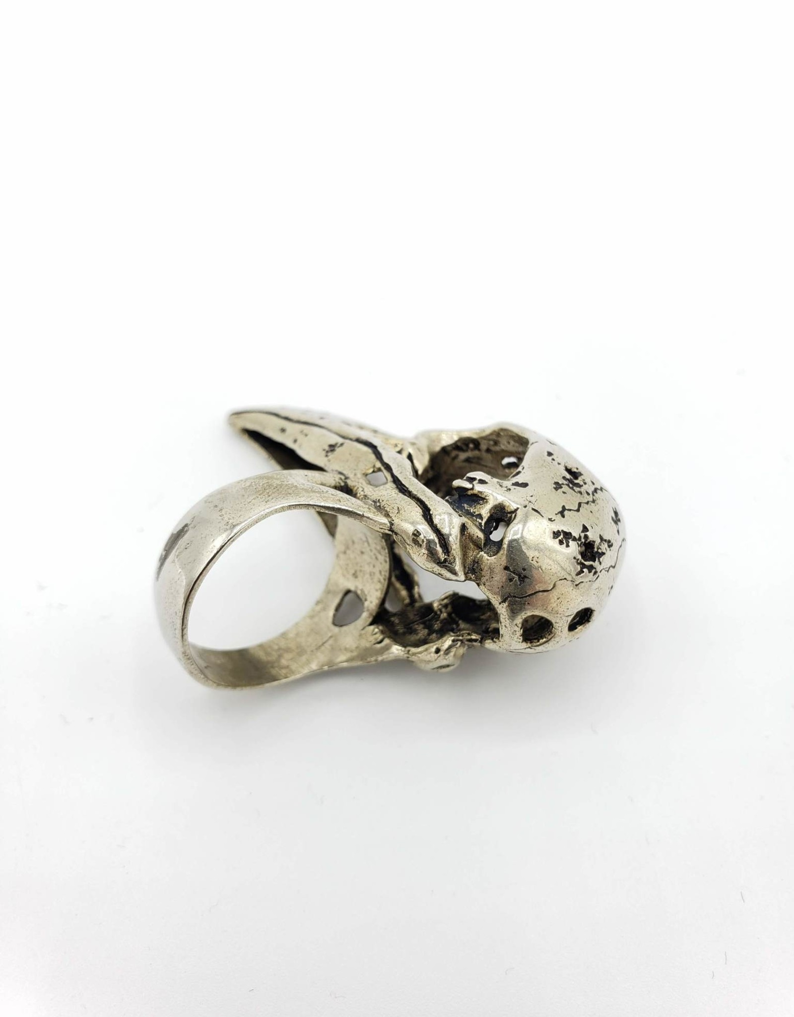 LAS Collective Crow Skull Ring - Sz. 9.5, White Bronze - Polished