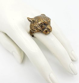 LAS Collective Cheetah Head Ring -  Sz. 9.5 Yellow Bronze, Polished