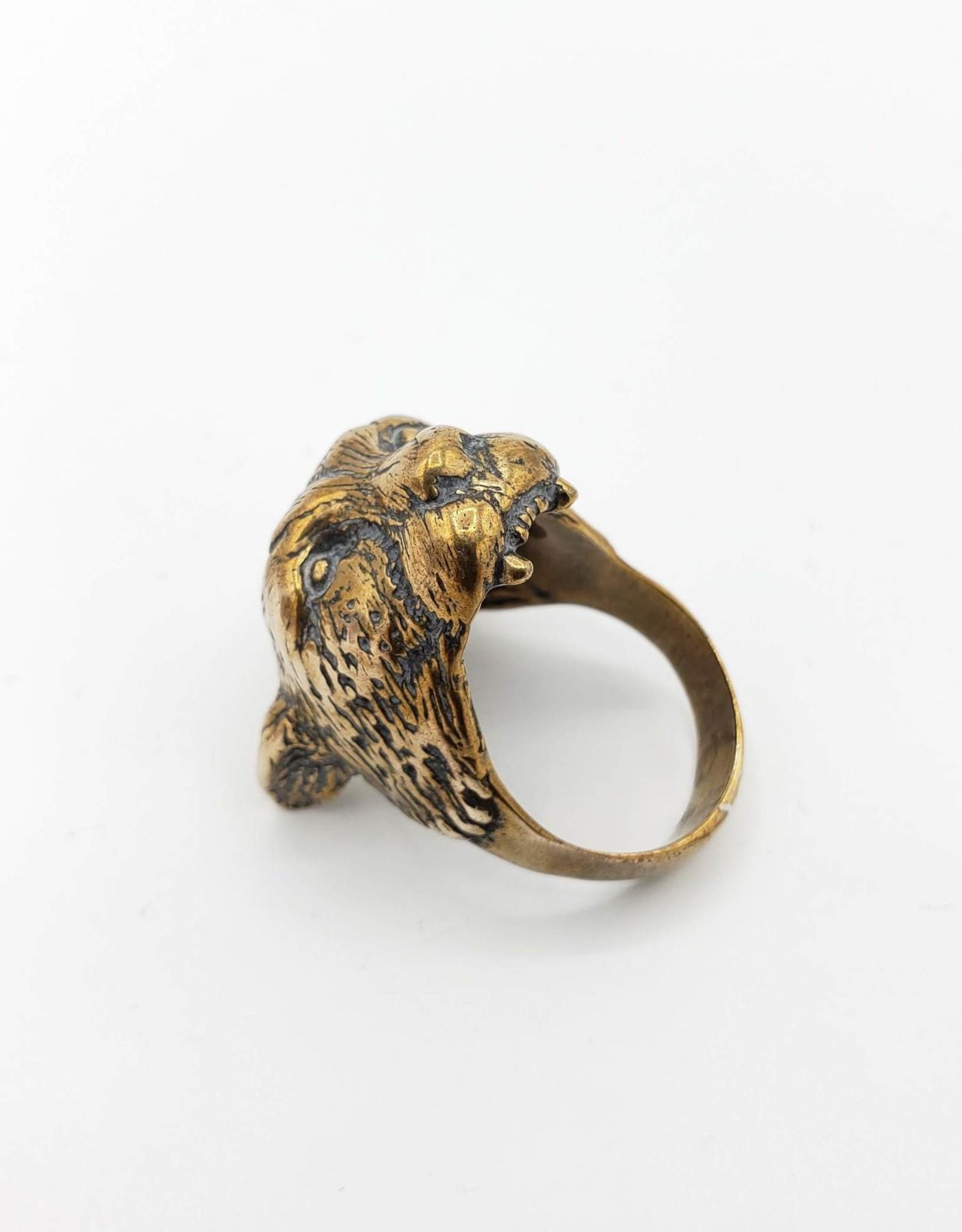LAS Collective Cheetah Head Ring -  Sz. 9.5 Yellow Bronze, Polished