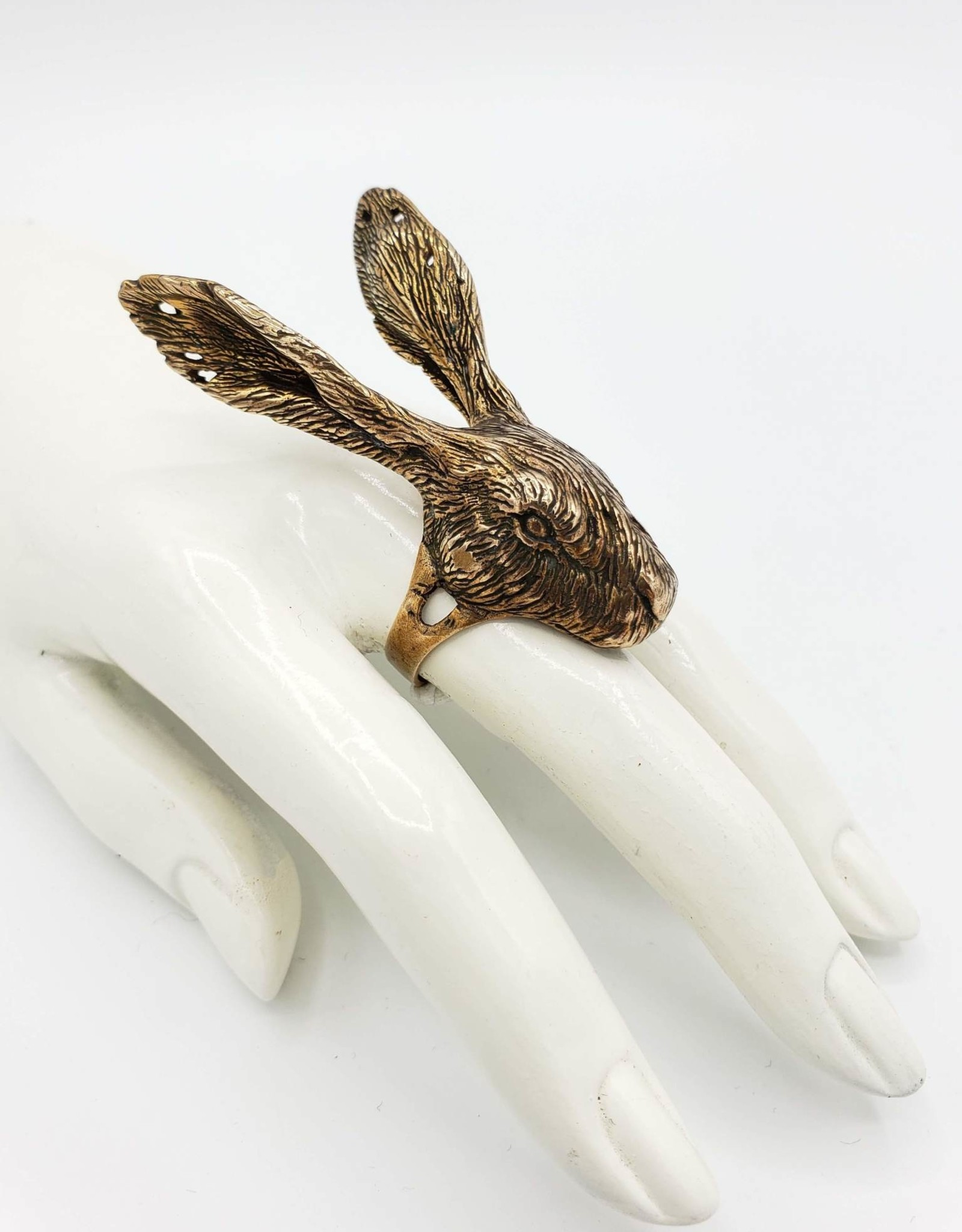 LAS Collective Rabbit Head Ring  - Sz. 7 Yellow Bronze, Polished
