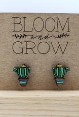 Bloom & Grow Designs Painted Wood Cactus Post Earrings