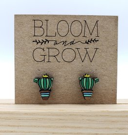 Bloom & Grow Designs Painted Wood Cactus Post Earrings