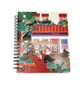 Restaurant Cafe Needlepoint - Recycled Book Journal