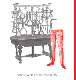 """Good Work Smarty Pants!"" Graduation Greeting Card - Black and White and Red All Over"