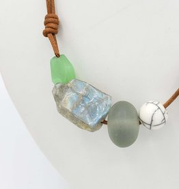 Redux Glass Labradorite Necklace on Leather Cord