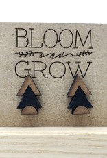 Bloom & Grow Designs Painted Wood Trifecta Half-Circle and Chevron Post Earrings