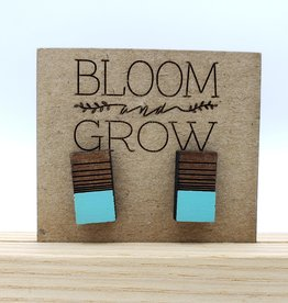 Bloom & Grow Designs Earrings Painted Wood Simple Colorblocked Post