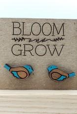 Bloom & Grow Designs Painted Wood Bird Post Earrings