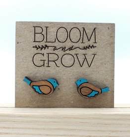 Bloom & Grow Designs Painted Wood Bird Post Earrings