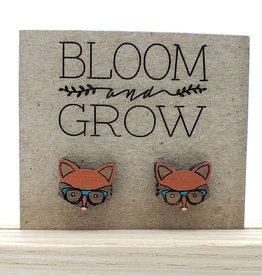 Bloom & Grow Designs Painted Wood Hip Fox Post Earrings