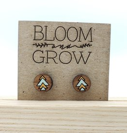Bloom & Grow Designs Painted Wood Geo Arrowhead Post Earrings