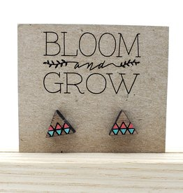 Bloom & Grow Designs Painted Wood Geometric Triangle Post Earrings