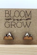 Bloom & Grow Designs Painted Wood Snowcapped Mountain Post Earrings