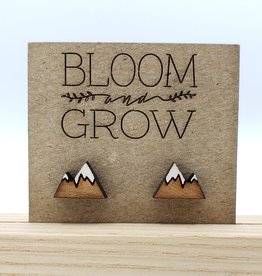 Bloom & Grow Designs Painted Wood Snowcapped Mountain Post Earrings