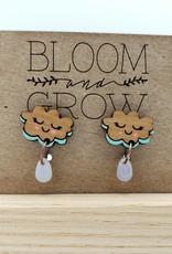 Bloom & Grow Designs Painted Wood Rain Clouds with Blue Drop Earrings