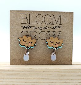 Bloom & Grow Designs Painted Wood Rain Clouds with Blue Drop Earrings