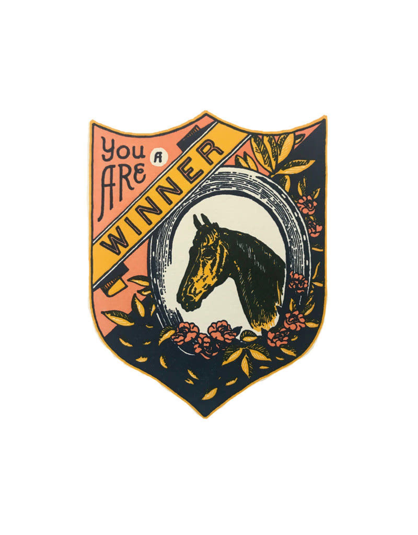 """You are a Winner"" Greeting Card Badge Shape - Hammerpress"