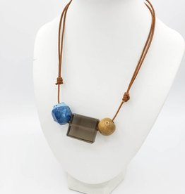 Glass Wood Stone Necklace on Leather Cord