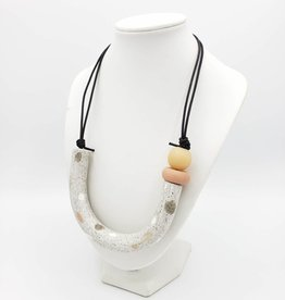 Rachael Perisho Lucky U Necklace - Terrazzo White w/ natural beads