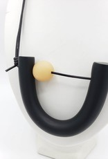 Rachael Perisho Mini U Necklace - Black with small natural bead