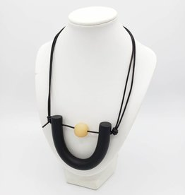 Rachael Perisho Mini U Necklace - Black with small natural bead