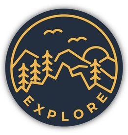 Sticker Explore Circle black & yellow