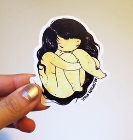Stasia Burrington Curled Up Girl Sticker - Stasia Burrington