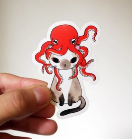 Stasia Burrington Octopus Hat Cat Sticker - Stasia Burrington