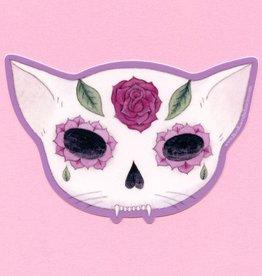Rose Sugar Skull Cat Sticker - Bee's Knees Industries