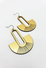 Bloom & Grow Designs Lucy Earrings , Gold Disc Around Long Hollow Pill Shape