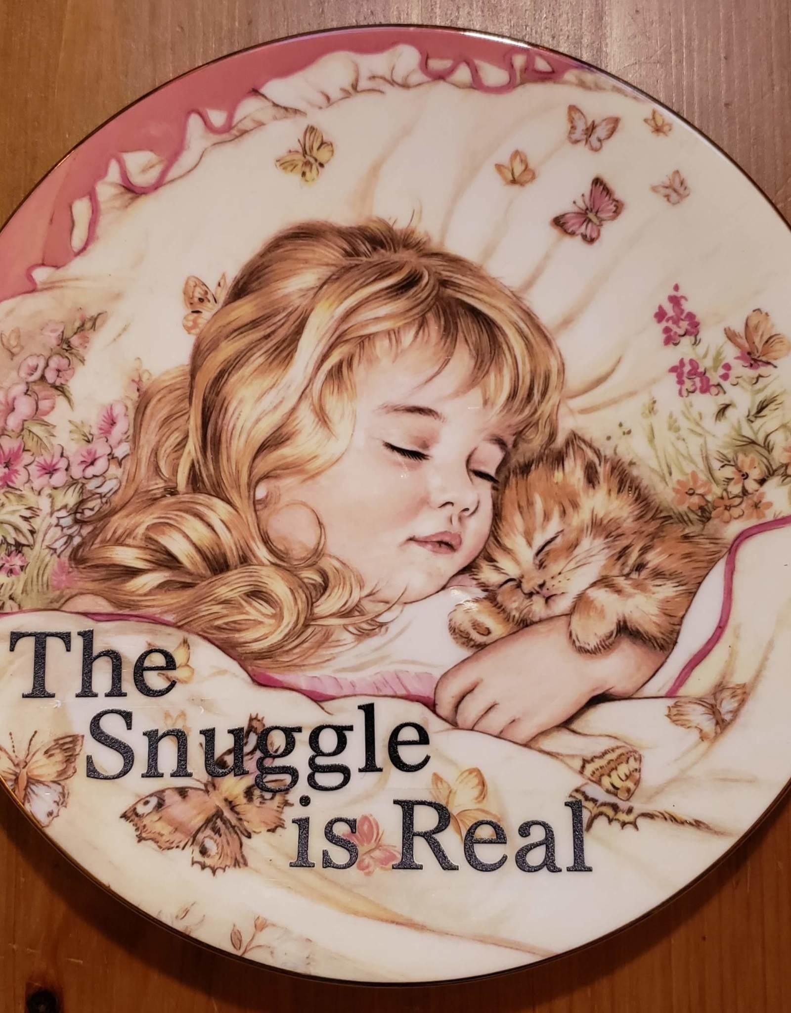 "Redux ""The Snuggle is Real"" Vintage Upcycled Plate Art"