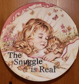 """The Snuggle is Real"" Vintage Upcycled Plate Art"