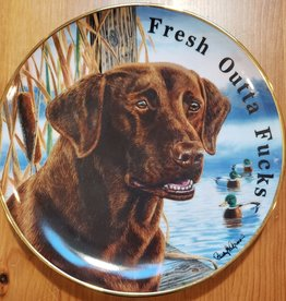 """Fresh Outta Fucks"" - Vintage Upcycled Plate Art"