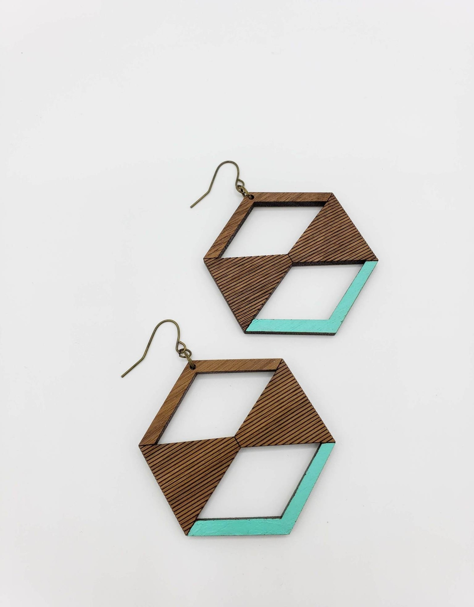 Bloom & Grow Designs Ole Swiss Earrings Hexagon with Triangles with Painted Accents