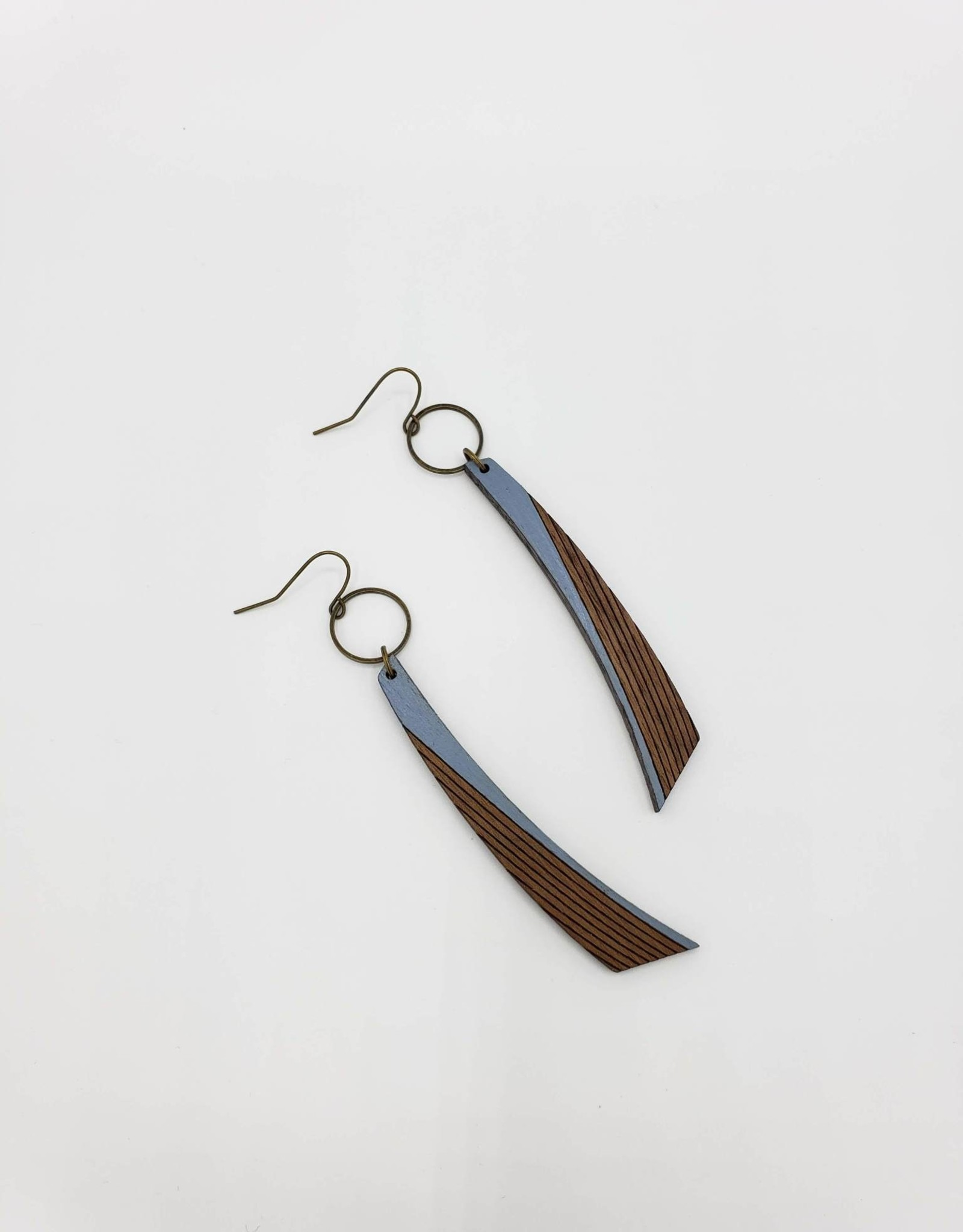 Bloom & Grow Designs Baroness Earrings Elongated Hand Painted Wood and Brass