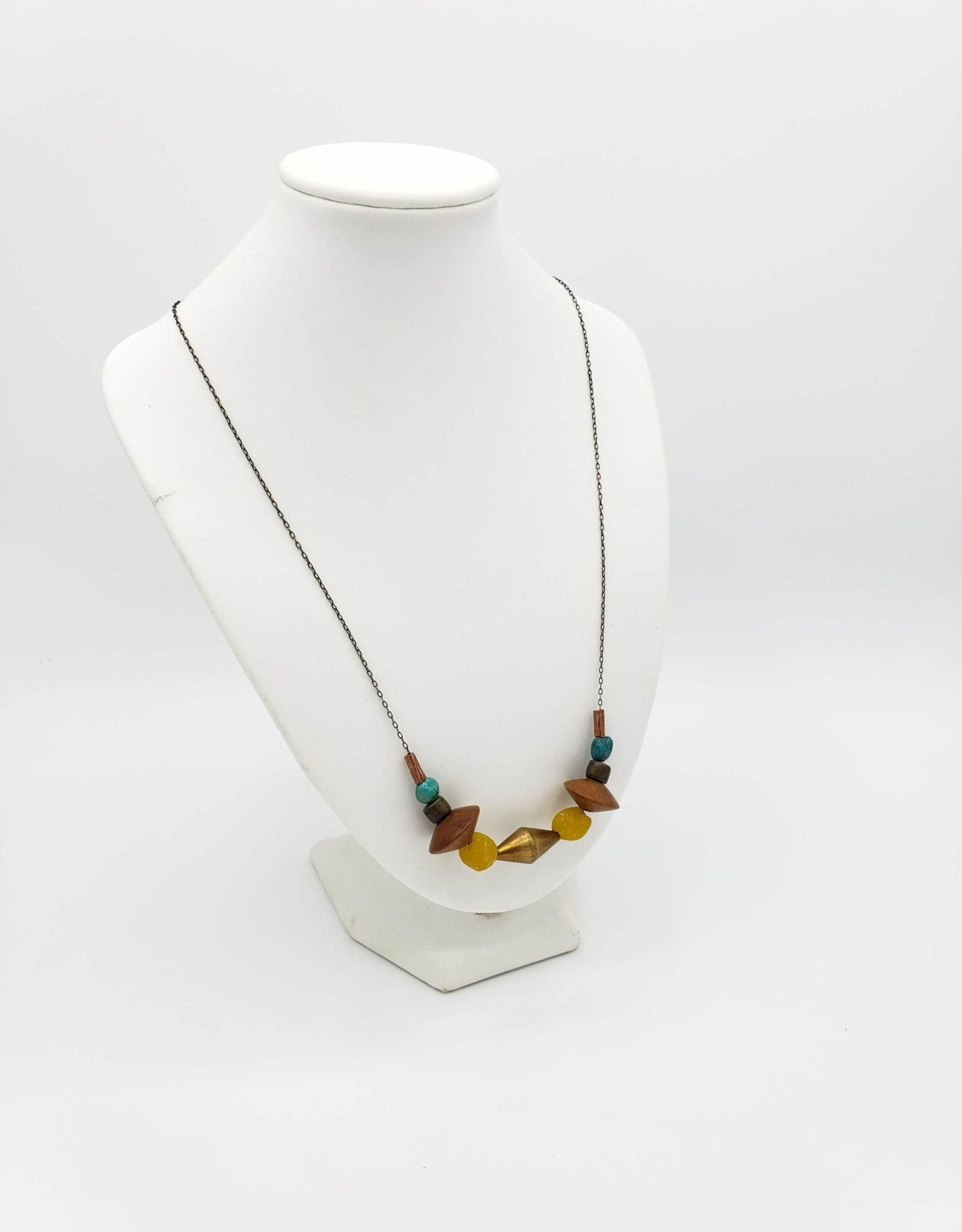 Redux Turquoise and Vintage Glass Bead Necklace