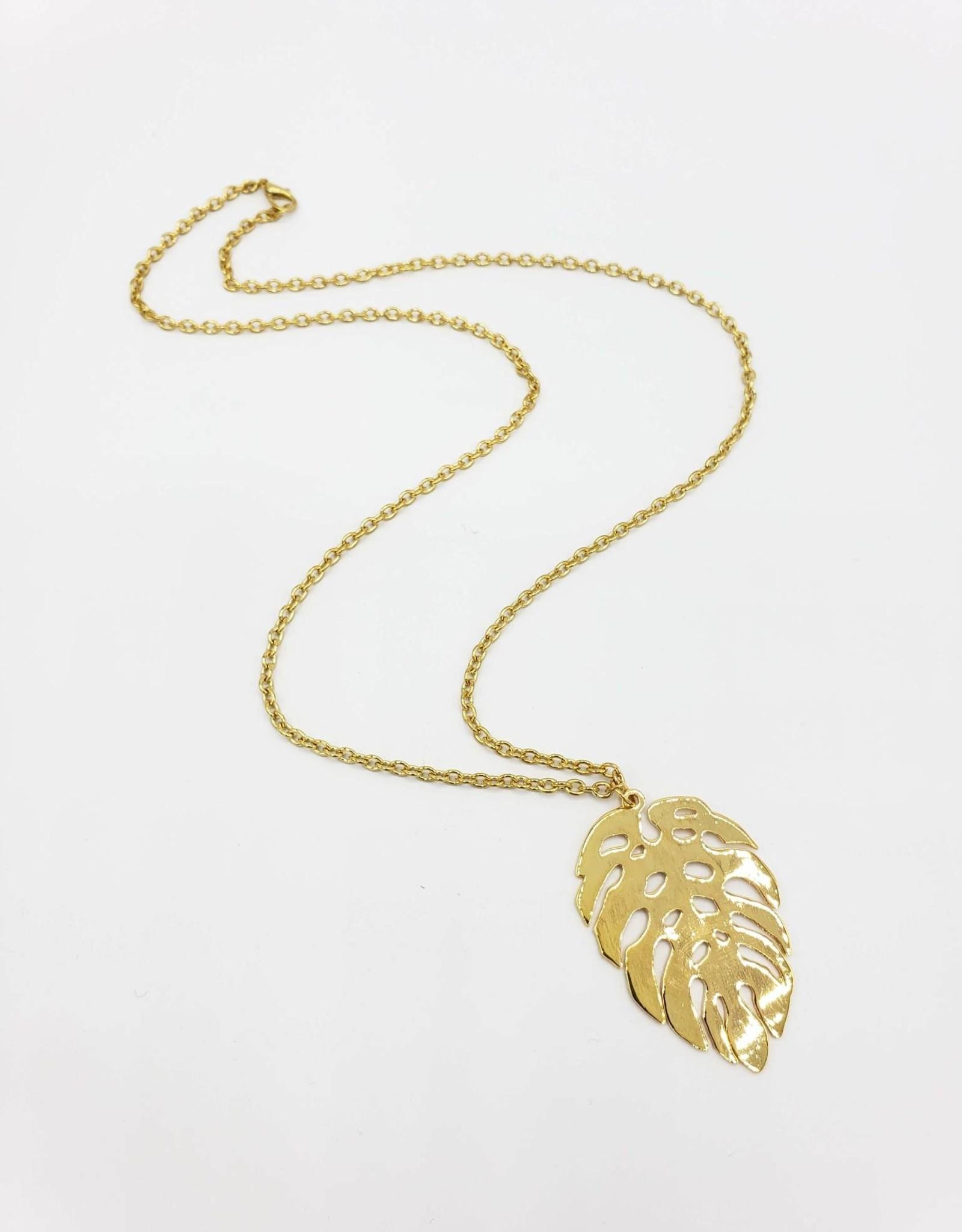 Gold Metal Monstera Leaf Necklace