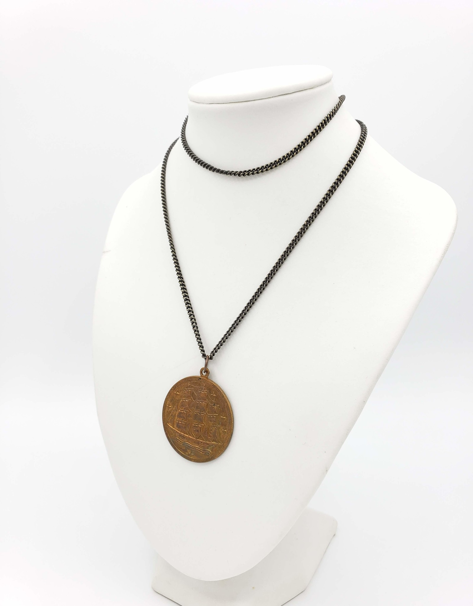 Redux Vintage Coin with Ship Pendant Necklace